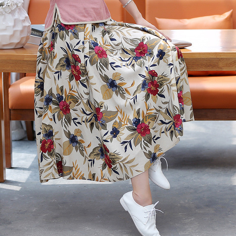 Charming Flowers Printed Tradition Cotton Skirt for Women - KINGEOUS