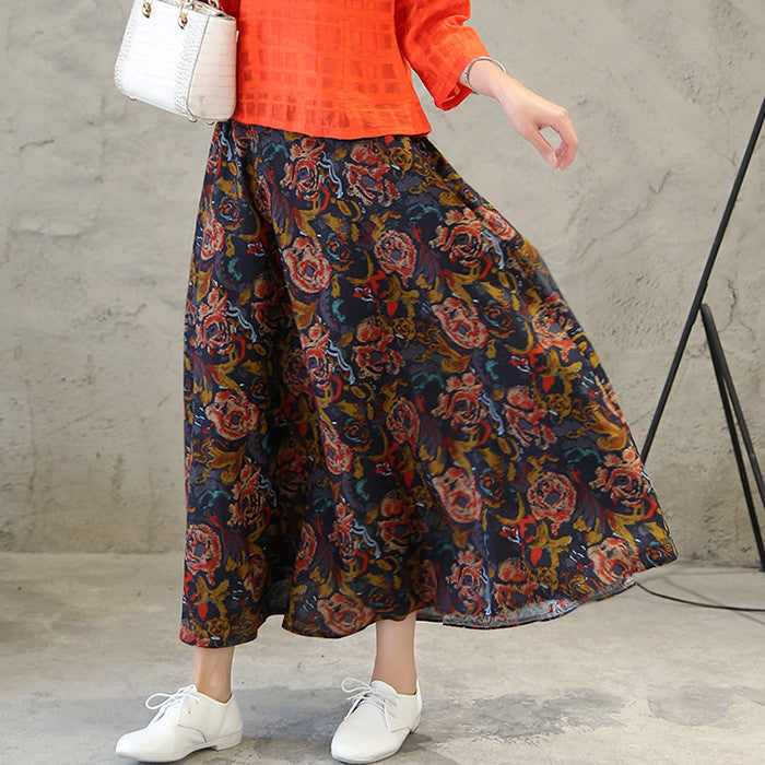 Beautiful Rose Printed Tradition Cotton Skirt for Women - KINGEOUS