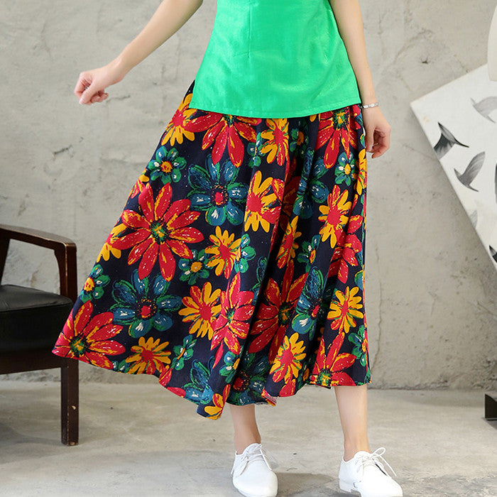 Sweet Flowers Printed Tradition Pure Cotton Skirt for Women(2 Colors)
