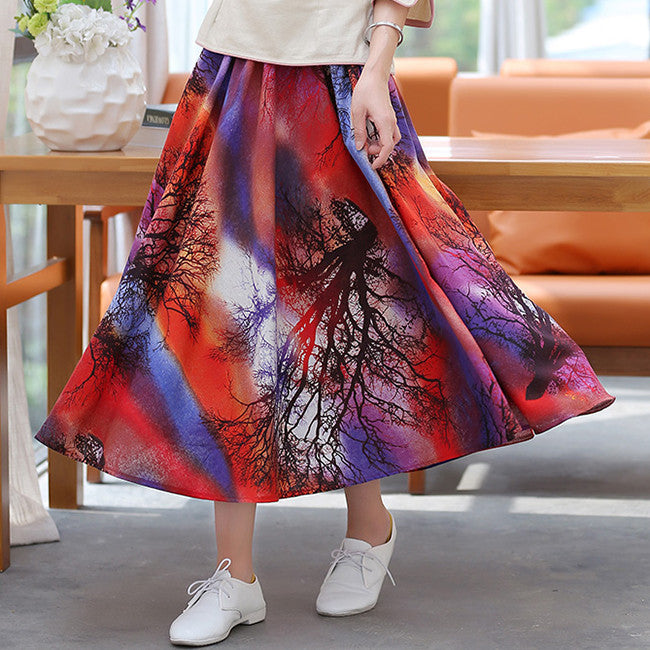 Amazing Trees Printed Pure Cotton Tradition Skirt(2 Colors) - KINGEOUS
