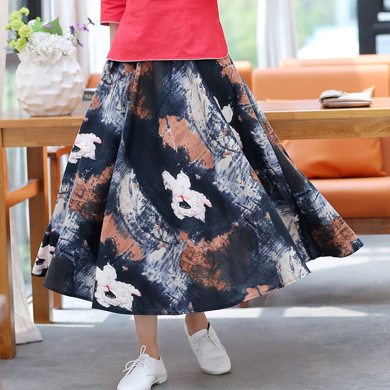 Lotus Ink Printed Pure Cotton Tradition Skirt(3 Colors) - KINGEOUS