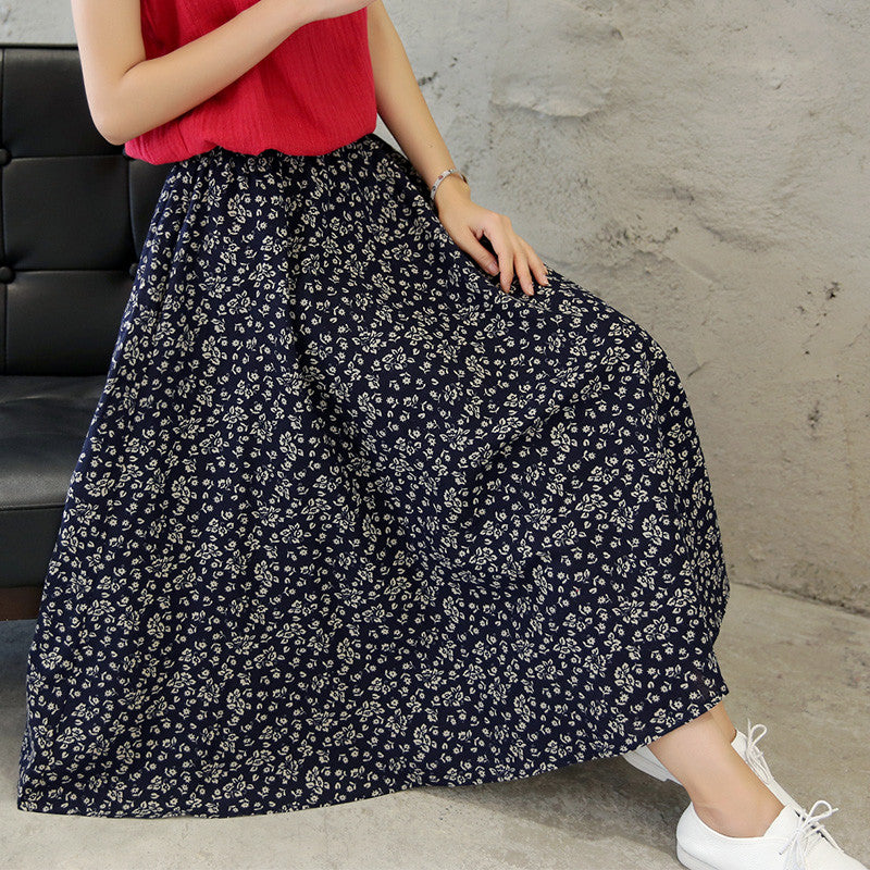 Florals Printed Pure Cotton Tradition Skirt(3 Colors) - KINGEOUS