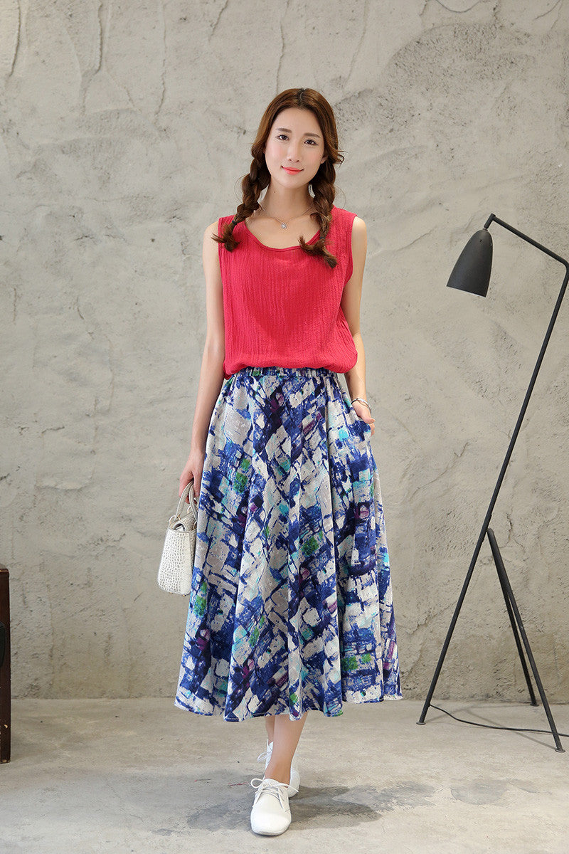 Stylish Pattern Printed Pure Cotton Tradition Skirt for Women
