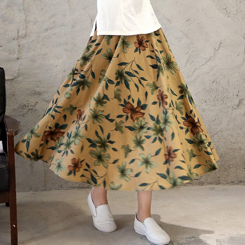Fresh Flowers Printed Pure Cotton Tradition Skirt for Women - KINGEOUS