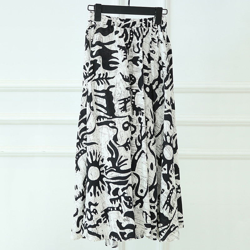 Fashion Scrawl Printed Flax Tradition Skirt for Women - KINGEOUS