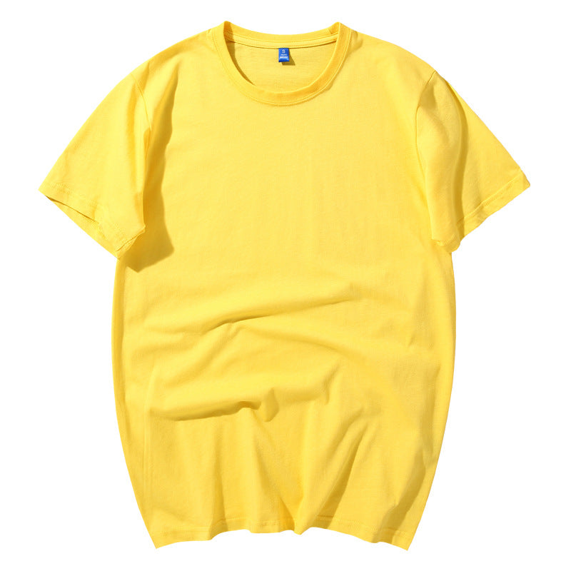 Solid Color All-match Round Neck Cotton Men and Women T-Shirt