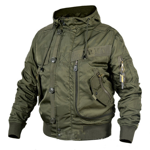 Military Fan Hooded Stand Collar Ma1 Men's Bomber Jacket
