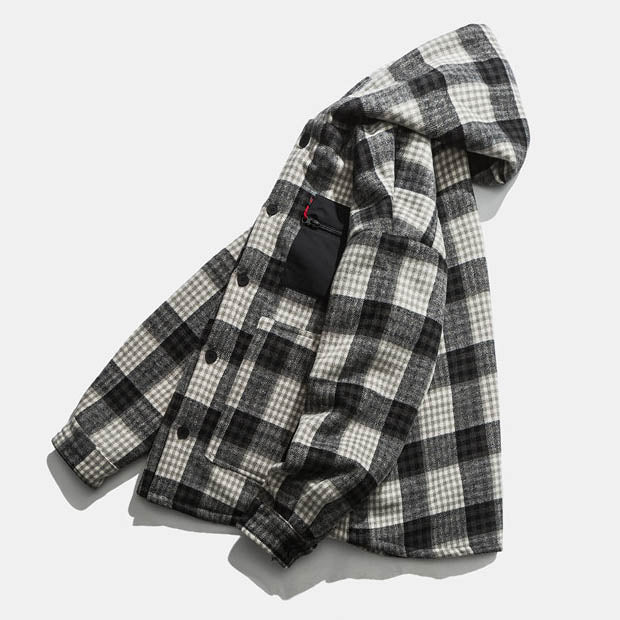 Retro Thicken Grid Printed Hooded Casual Men's Shirt