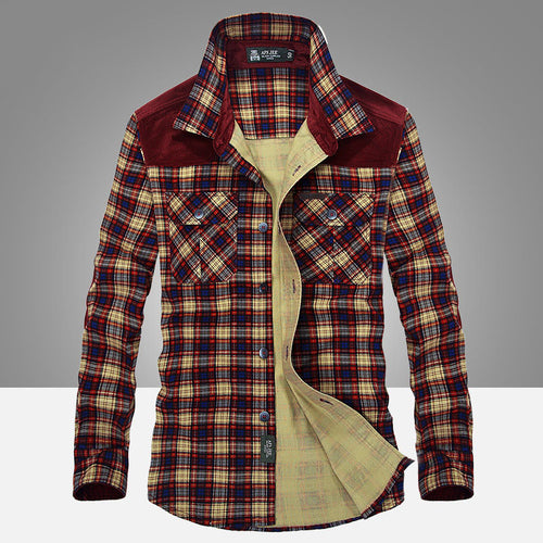 Leisure Business Plaid Long Sleeve Cotton Men's Shirt