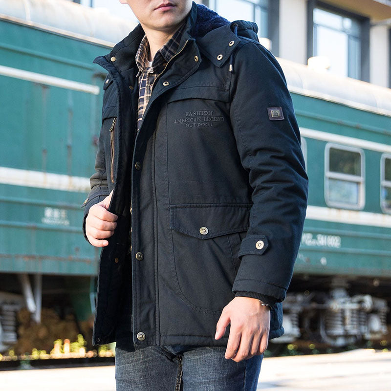 Casual Loose Warm Plus Velvet Thickened Mid-length Men's Jacket