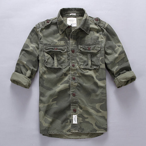 Army Tactical Camouflage Cotton Cargo Men's Shirt