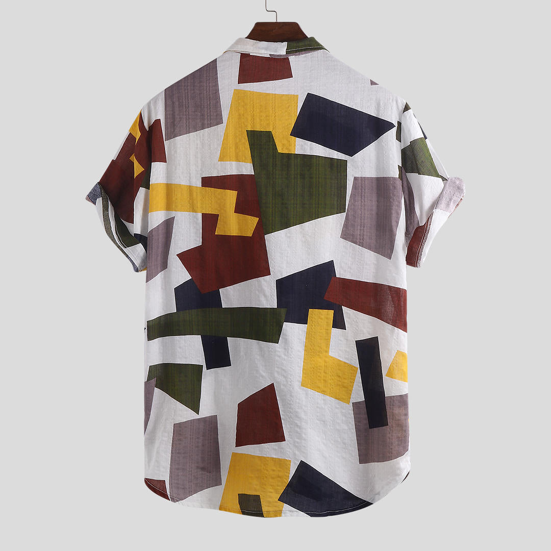 Men Summer Hit Color Printed Chest Pocket Loose Color Shirts