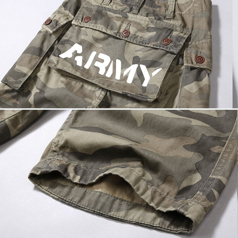 Fashion Casual Big Pocket Camo Men's Shorts