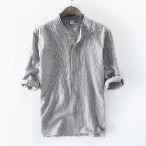 100% linen Cotton Middle Sleeve Men's Stripe Shirt - KINGEOUS