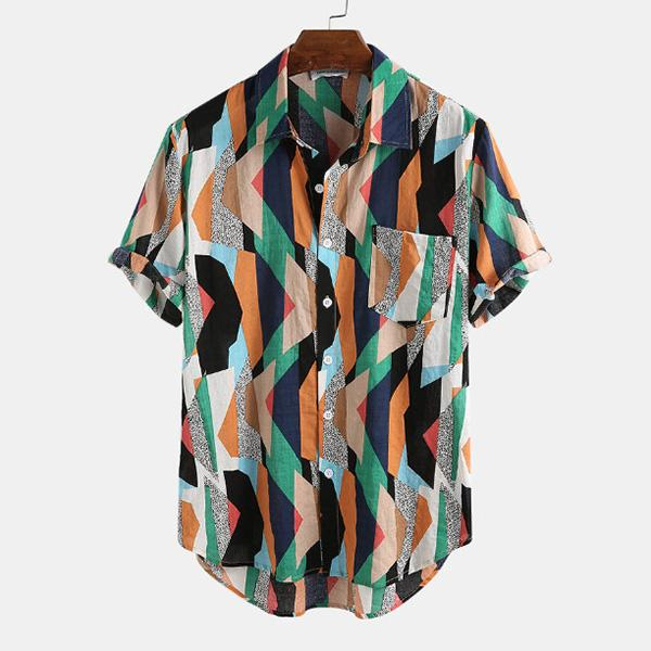 Split Joint Vivid Printed Casual Daily Men's Shirt