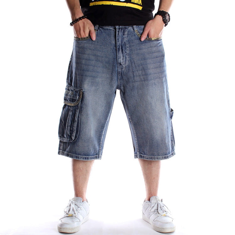 Plus Size Denim Loose Pop Pocket Men's Shorts