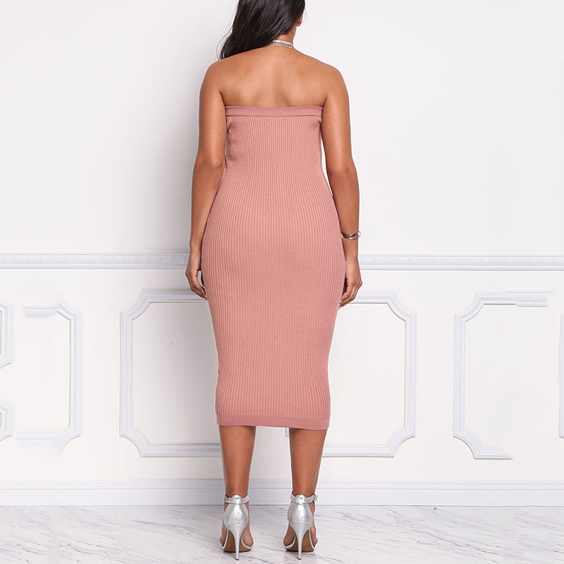 Solid Color Knit Slim Strapless Dress with Zipper