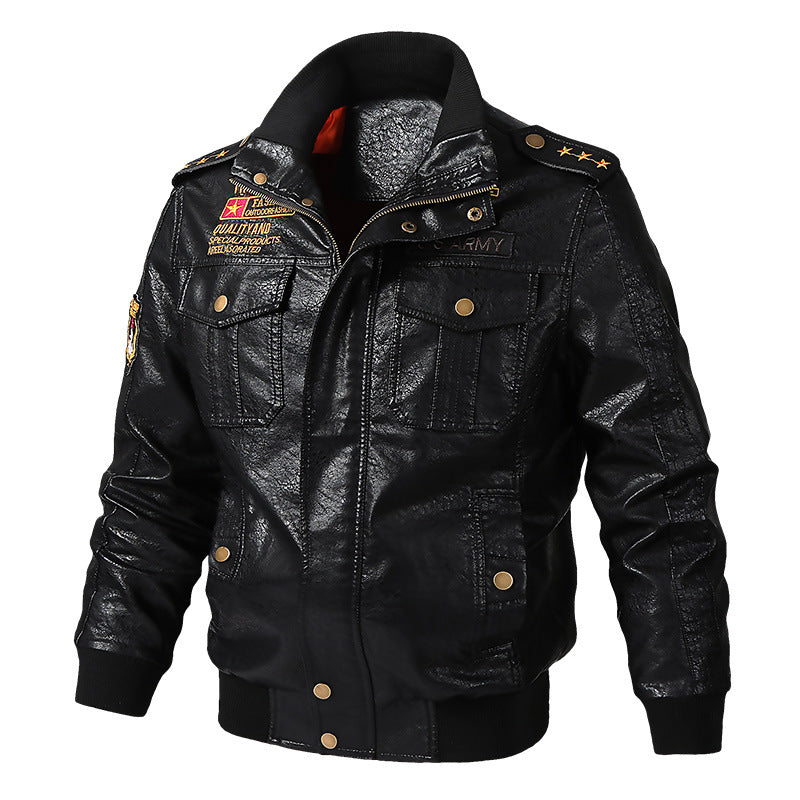 Locomotive Punk PU Split Joint Lapel Men Bomber Jacket