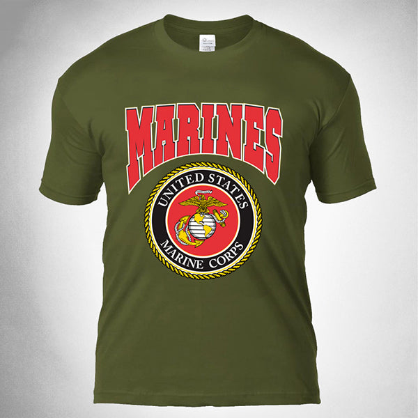 Casual Round Neck Marines Printing Training T-shirt - KINGEOUS