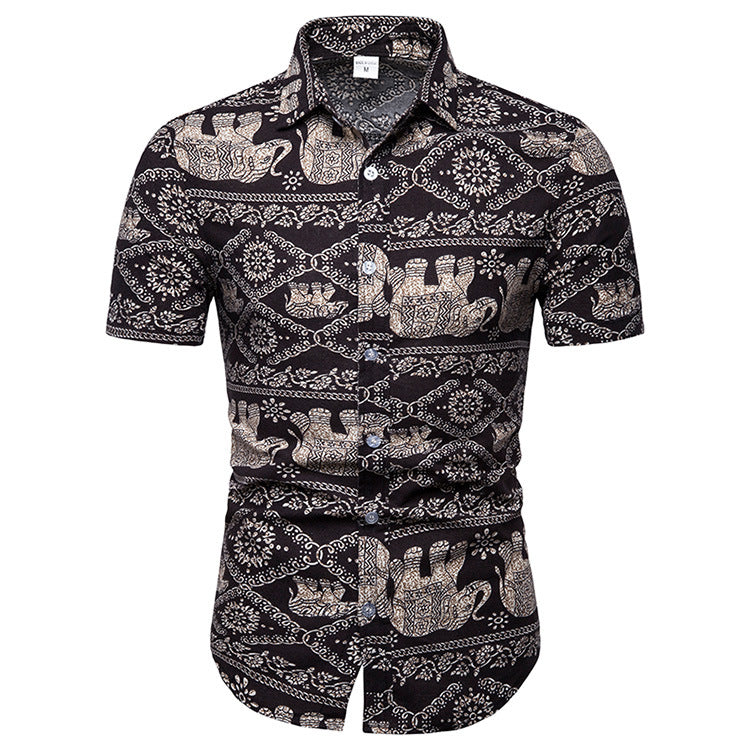 Elephant Pattern Printed Casual Men Shirt