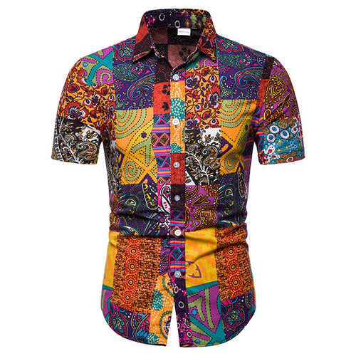 Retro Pattern Printed Holiday Beach Men Shirt