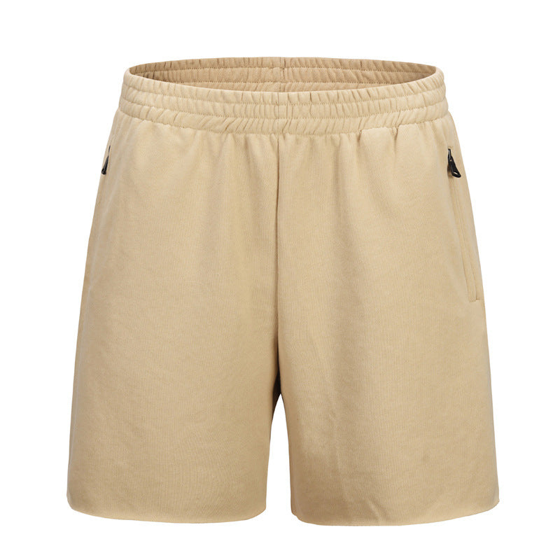 Cotton Loose Brushed Cuff Solid Color Men's Short - KINGEOUS