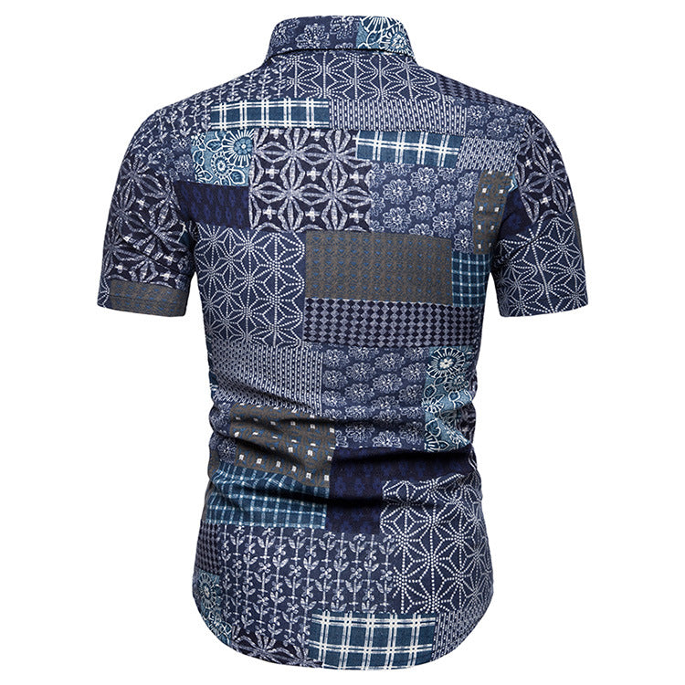 Split Joint Short Sleeve Men Shirt