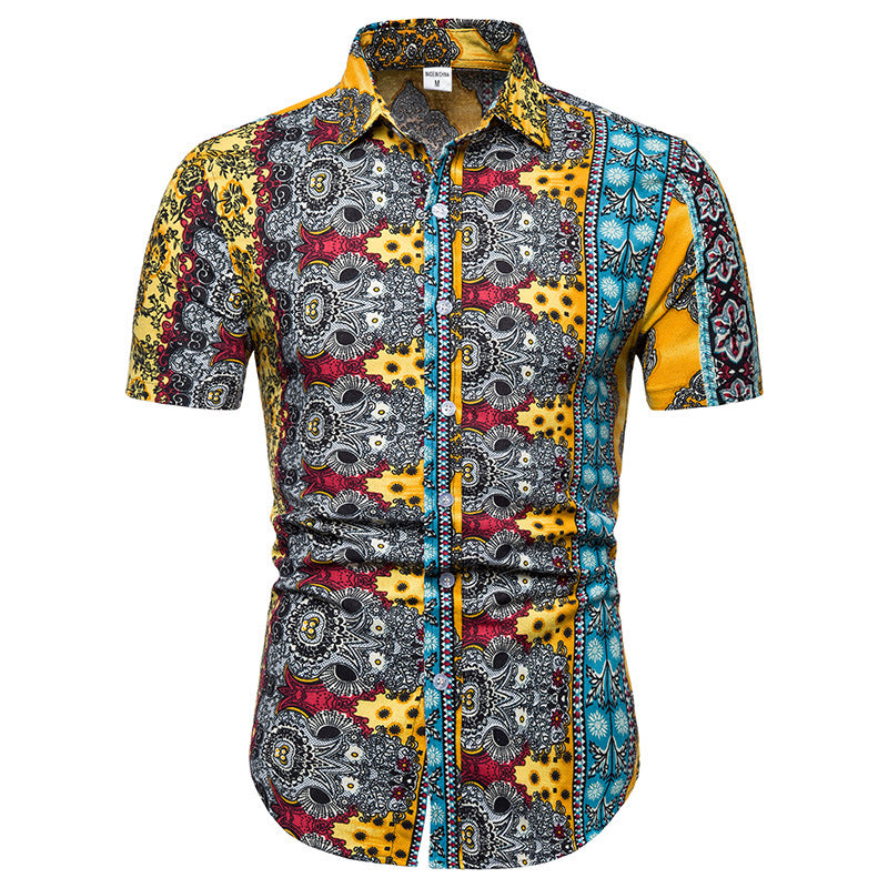 Casual Short Sleeve Printed Holiday Men Shirt - KINGEOUS