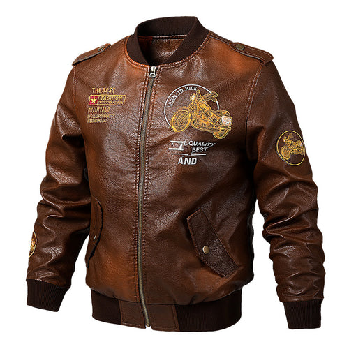 Locomotive Style Baseball Collar Men's Jacket