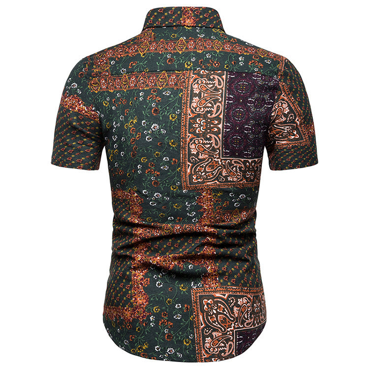 Classic Printed Short Sleeve Holiday Men Shirt - KINGEOUS