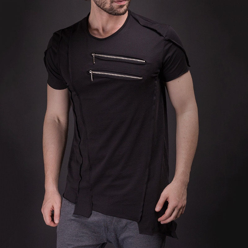 2019 New Zipper Splice Hip-hop Men's T-shirt - KINGEOUS