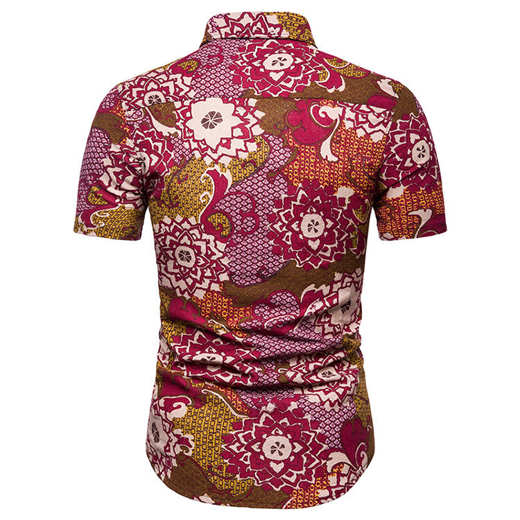 Florals Split Joint Holiday Beach Men Shirt