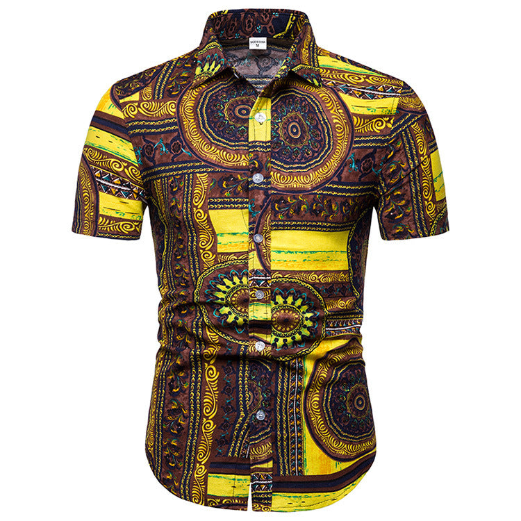 Traditional Pattern Printed Casual Men Shirt