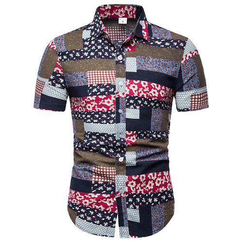 Printed Split Joint Holiday Beach Men Shirt
