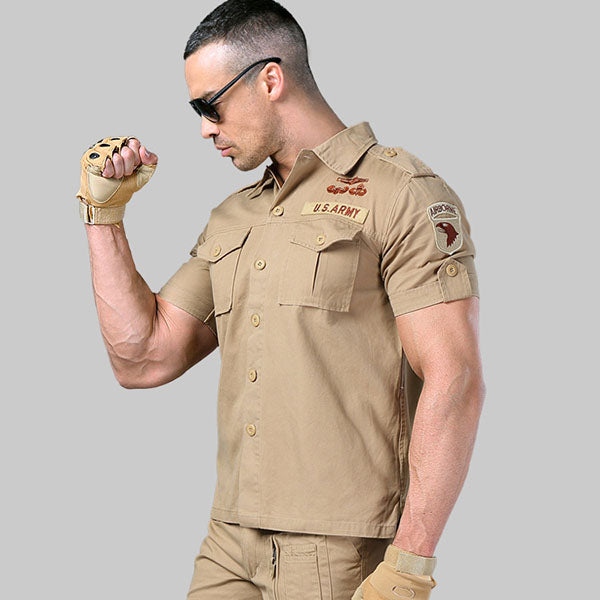 Military Outdoor 101 Airborne Division Short Sleeve Men's Shirt