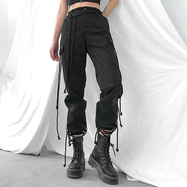 Fashion Straps Design Women's Ankle Banded Pants