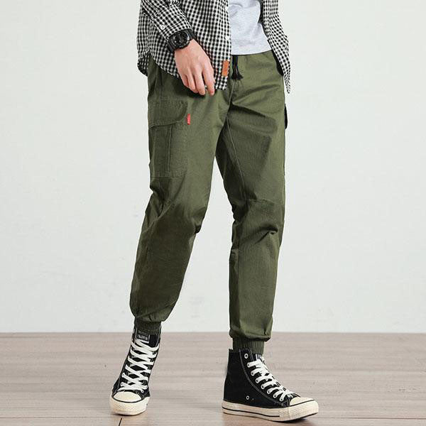 Casual Plus Size Loose Multi-pocket Ankle Banded Cargo Pants - KINGEOUS