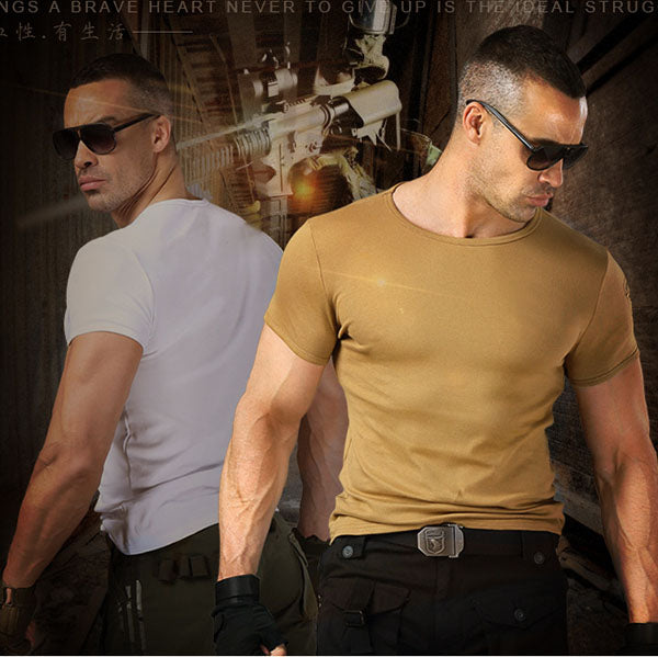 Elastic Military Style Cotton Short-sleeve Men's T-shirt - KINGEOUS