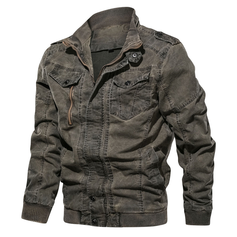Retro Lapel Wash Denim Men Jacket