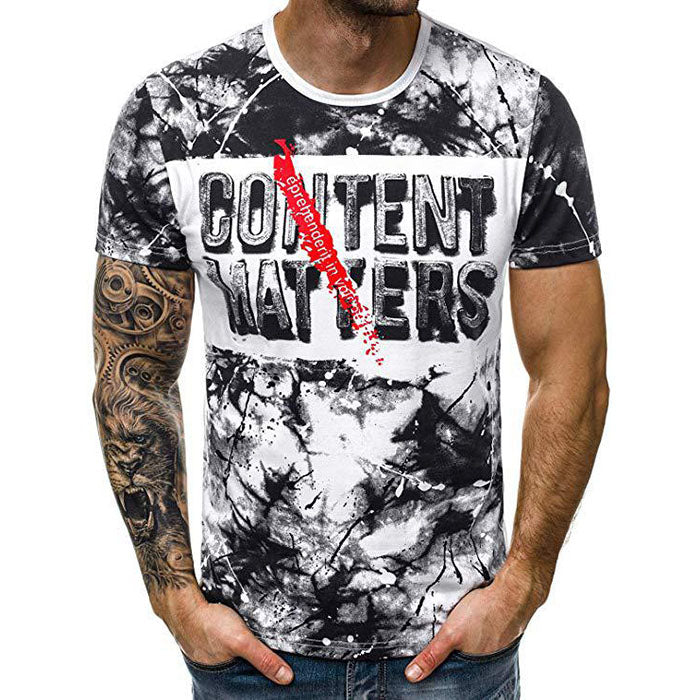 3D Graffiti Letter Printing Short-sleeved Men's T-shirt - KINGEOUS