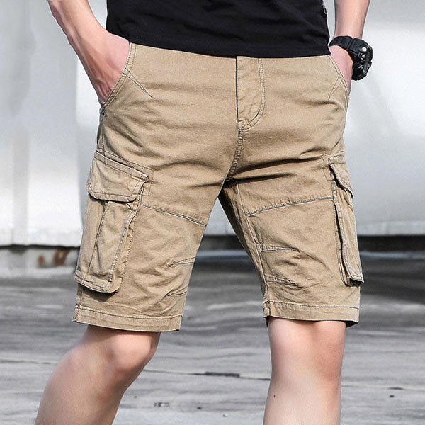 Loose Solid Color Plus Pocket Straight Men's Shorts