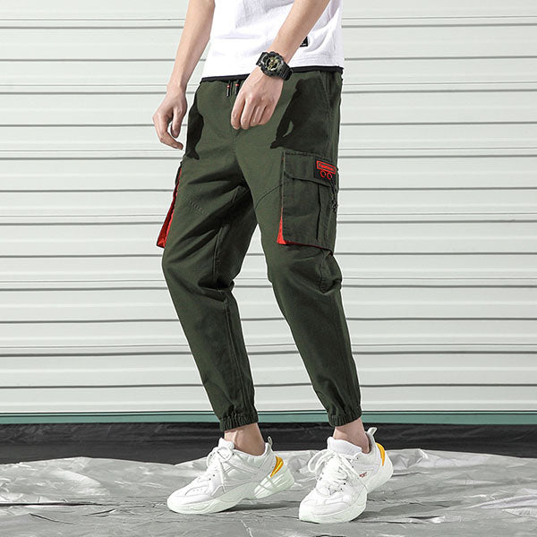 Casual Plus Pocket Design Solid Color Ankle Banded Cargo Pants - KINGEOUS