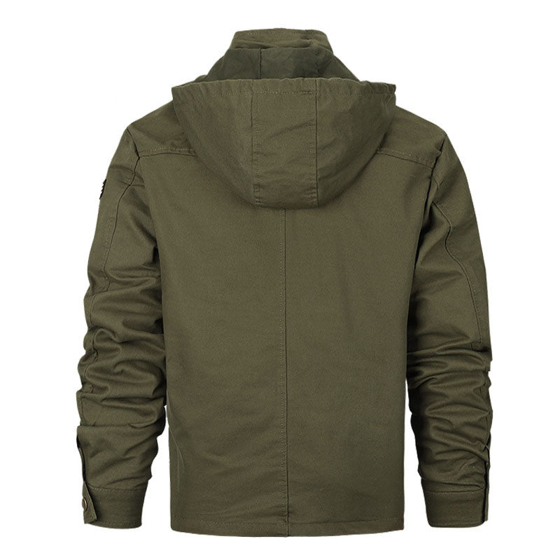 Plus Size Solid Color Men Bomber Jacket