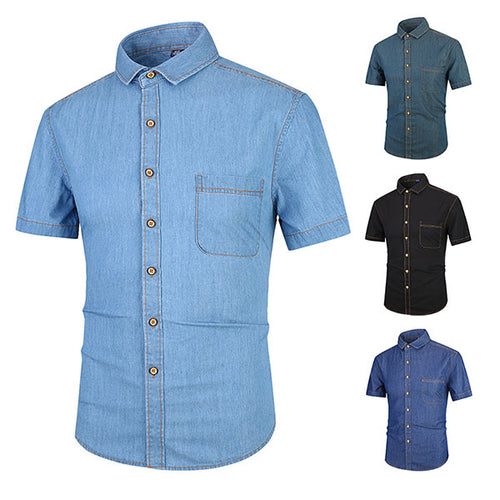Casual Denim Standing Collar Short-sleeve Men's Shirt - KINGEOUS