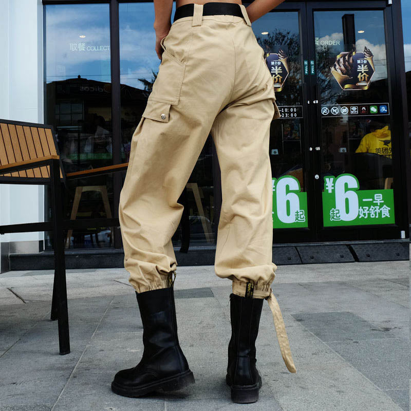 Casual Loose Belt Decoration Harlan Women's Cargo Pants - KINGEOUS