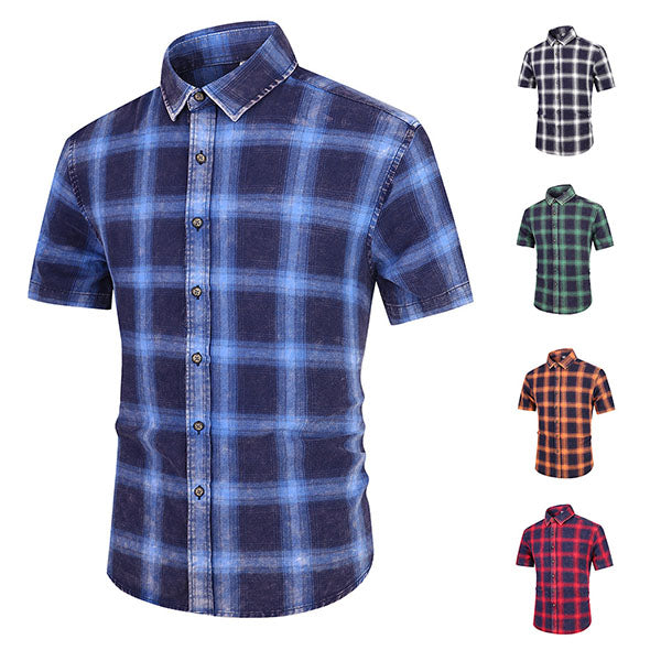 Cotton Plaid Standing Collar Short-sleeve Men's Shirt - KINGEOUS