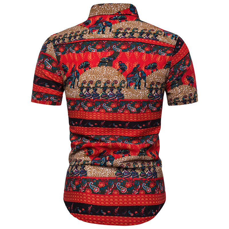 Split Joint Printed Casual Men Shirt