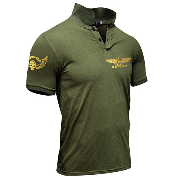 Tactical Lapel Slim Short-sleeved Men's Polo T-shirt