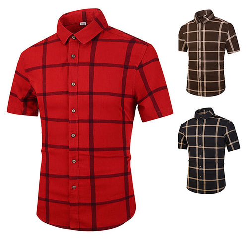 Retro Plaid Standing Collar Short-sleeve Men's Shirt