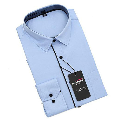 Casual Solid Color Long-sleeved Men's Shirt - KINGEOUS
